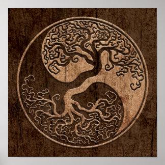Árbol de la vida Yin Yang con el efecto de madera  Póster