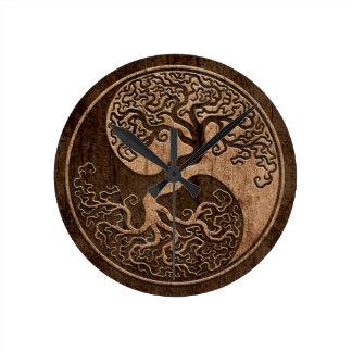 Árbol de la vida Yin Yang con el efecto de madera Reloj De Pared