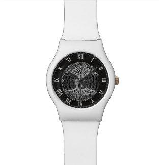 Árbol de la vida Yin Yang en blanco y negro Reloj