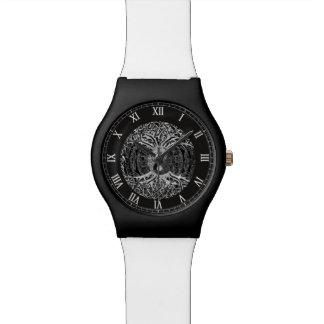 Árbol de la vida Yin Yang en blanco y negro Relojes De Pulsera