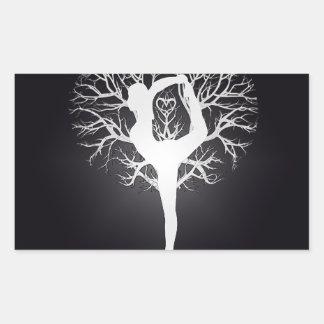 Árbol de la yoga rectangular pegatinas