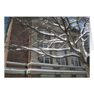 Árbol de langosta del invierno y edificio de los tarjeta de felicitación
