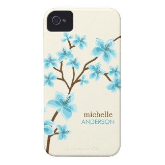 Árbol de las flores de cerezo de la aguamarina iPhone 4 cárcasas
