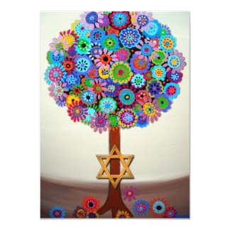 Árbol de las invitaciones de Mitzvah del palo de Invitacion Personalizada