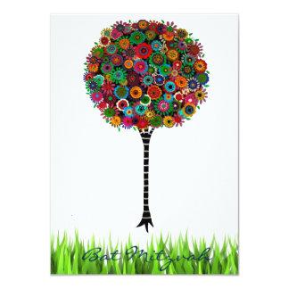 """Árbol de las invitaciones de Mitzvah del palo de Invitación 4.5"""" X 6.25"""""""