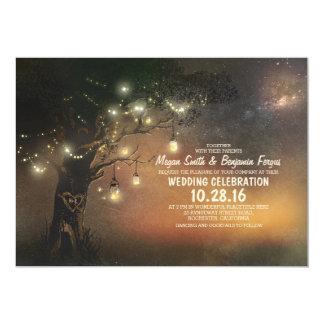 Árbol de las luces y invitación rústica del boda