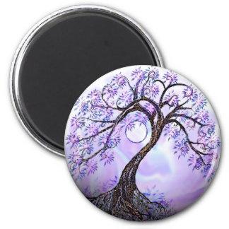 Árbol de Lavendar de la vida Imán Redondo 5 Cm