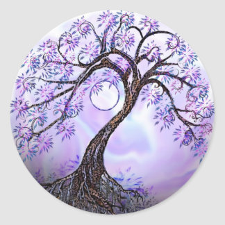 Árbol de Lavendar de la vida Pegatina Redonda