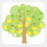 Árbol de limón lindo calcomanía cuadrada personalizada