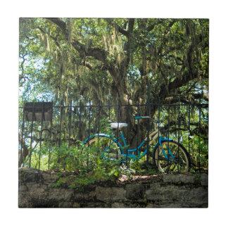 Árbol de Live Oak y bicicleta clásica Azulejo Cuadrado Pequeño
