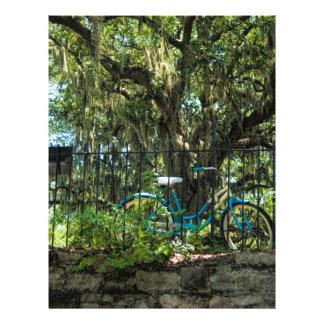 Árbol de Live Oak y bicicleta clásica Plantilla De Membrete