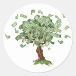 Árbol de los ahorros del dinero etiqueta