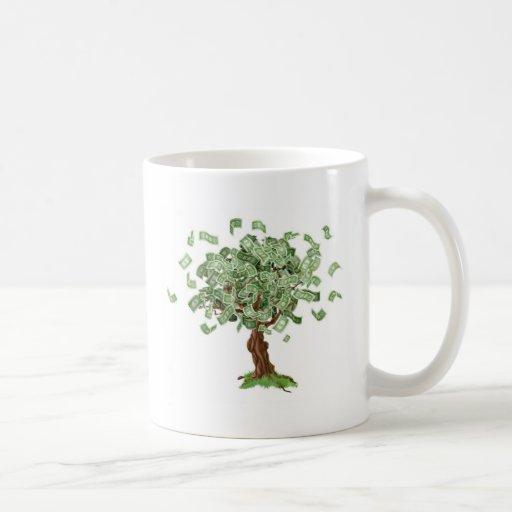 Árbol de los ahorros del dinero taza básica blanca