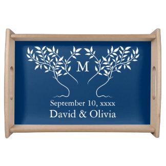 Árbol de los azules marinos del boda de la vida bandeja