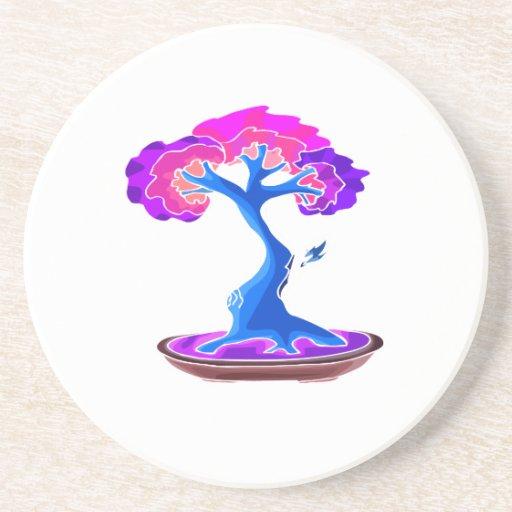 árbol de los bonsais con el gráfico blue.png del s posavasos para bebidas