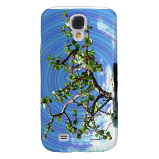 Árbol de los bonsais con la capa espiral del efect funda para galaxy s4