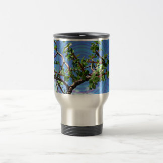Árbol de los bonsais con la capa espiral del efect taza de viaje de acero inoxidable