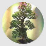 Árbol de los bonsais del Bougainvillea Pegatina Redonda