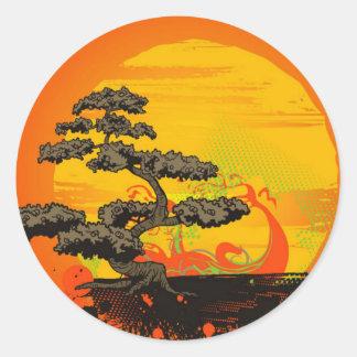 Árbol de los bonsais etiqueta redonda