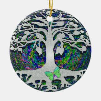 Árbol de los nuevos principios de la vida de adorno navideño redondo de cerámica