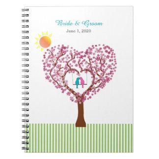 Árbol de los pájaros azules del rosa del amor que notebook