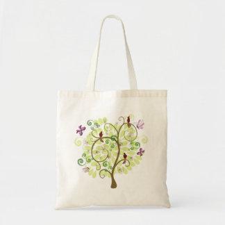 Árbol de los pájaros verdes estilizados florales bolsa tela barata