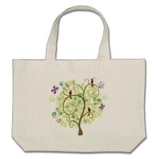 Árbol de los pájaros verdes estilizados florales d bolsa lienzo