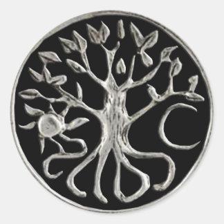 Árbol de los pegatinas de la vida pegatina redonda