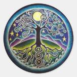 Árbol de Luna Llena de la mandala Sticke de la Pegatina Redonda