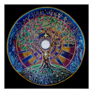 Árbol de Luna Llena del poster de la mandala de la