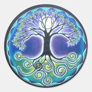 Árbol de Luna Llena del tiempo de primavera del Pegatina Redonda