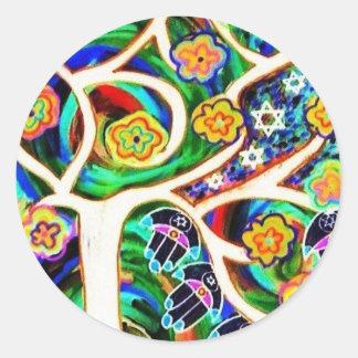 Árbol de marfil de Judaica Hamsa de la vida Etiqueta