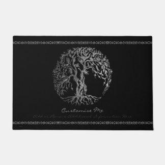 Árbol de Mehndi de la vida (alheña) (plata) Felpudo