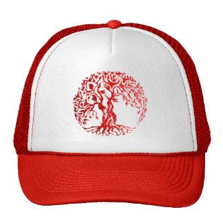 Árbol de Mehndi de la vida (alheña) (rojo) Gorro De Camionero