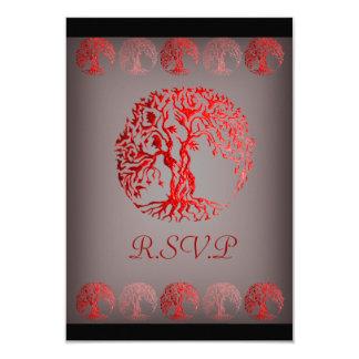"""Árbol de Mehndi de la vida (alheña) (rojo) Invitación 3.5"""" X 5"""""""