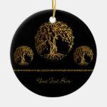Árbol de Mehndi de la vida (oro) Adorno De Navidad