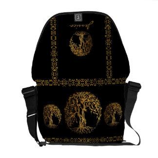 Árbol de Mehndi de la vida (oro) Bolsas Messenger