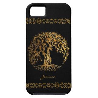 Árbol de Mehndi de la vida (oro) Funda Para iPhone SE/5/5s