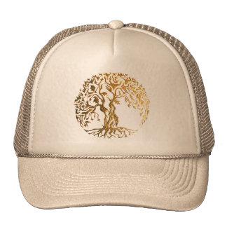 Árbol de Mehndi de la vida (oro) Gorro De Camionero