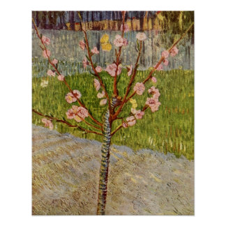 Árbol de melocotón floreciente de Vincent Willem V Póster