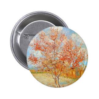 Árbol de melocotón rosado de Van Gogh en botón del Pin Redondo De 2 Pulgadas
