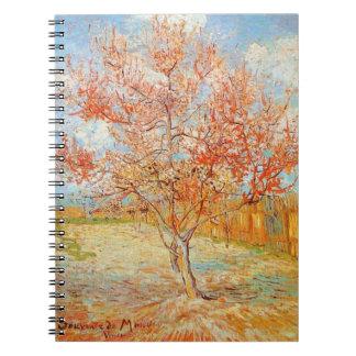 Árbol de melocotón rosado de Van Gogh en cuaderno