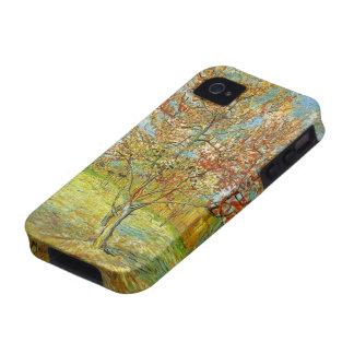 Árbol de melocotón rosado de Van Gogh en el flor Case-Mate iPhone 4 Funda