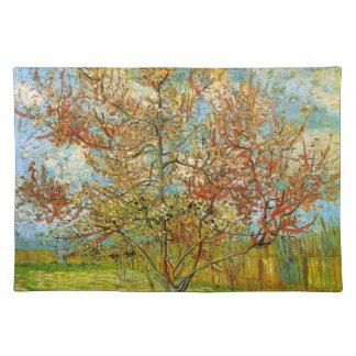 Árbol de melocotón rosado de Van Gogh en el flor Manteles Individuales