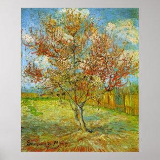 Árbol de melocotón rosado de Van Gogh en el flor Poster