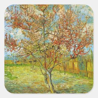 Árbol de melocotón rosado de Van Gogh en el flor Colcomanias Cuadradas Personalizadas