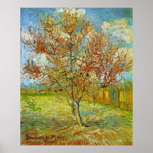 Árbol de melocotón rosado de Van Gogh en el flor, Póster
