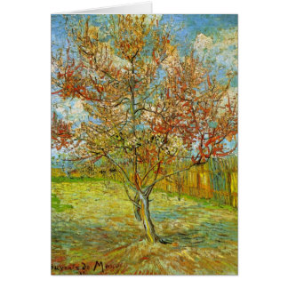 Árbol de melocotón rosado de Van Gogh en el flor Tarjeta
