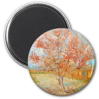 Árbol de melocotón rosado de Van Gogh en imán del