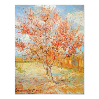 """Árbol de melocotón rosado de Van Gogh en Invitación 4.25"""" X 5.5"""""""